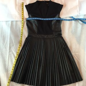 French Connection Black Leather Pleated Dress